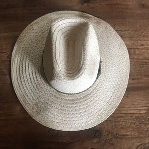 handmade Accessories - Wide brim white rancher straw hat with woven band